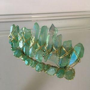 Mint Green Iridescent Quartz Stone Hair Barrette